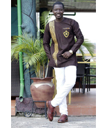 Brown & Golden Strips Embroidered Long Sleeve Shirt Men's African Clothing  - $59.99