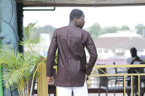 Brown & Golden Strips Embroidered Long Sleeve Shirt Men's African Clothing