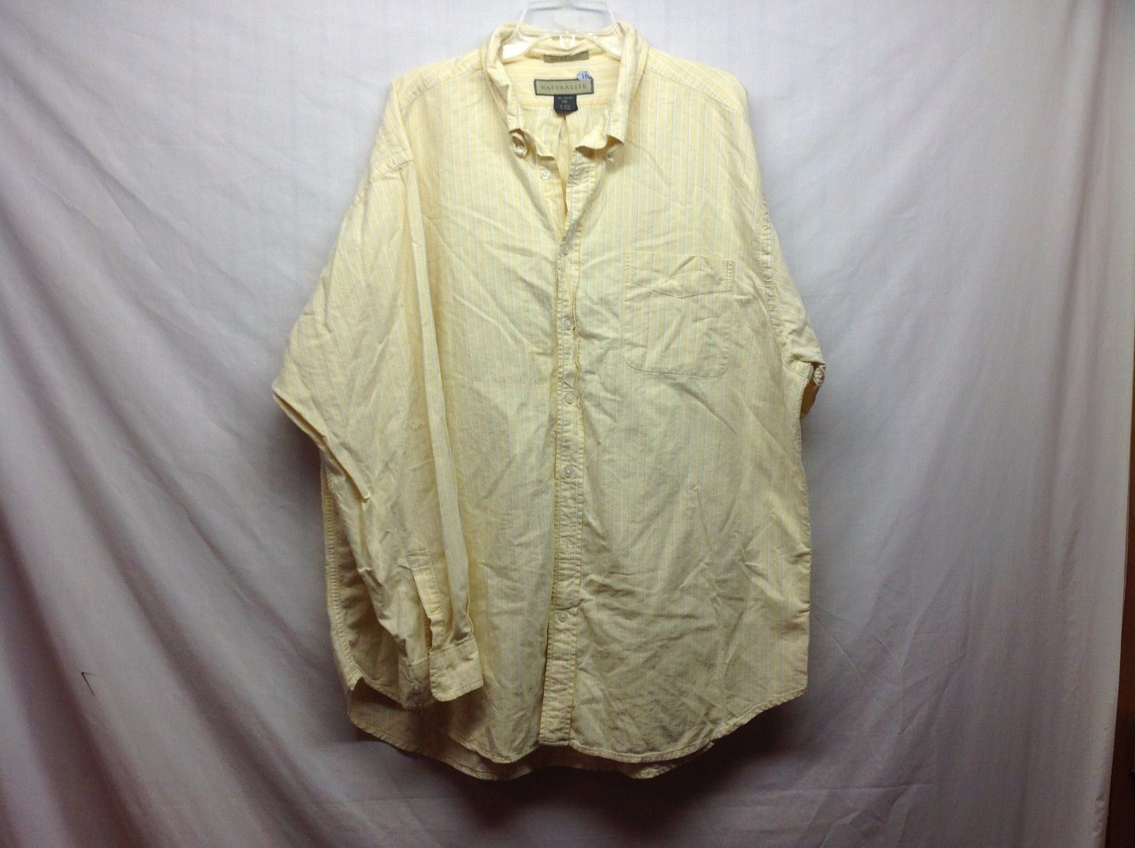 Natural Life Mens Yellow w White Stripes Casual Button Down Shirt Sz XXL