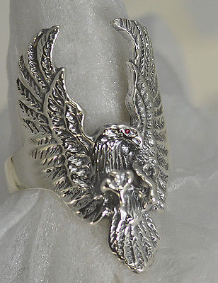 STERLING SILVER USA Eagle Ruby eye Patriotic RING Jewelry Army Military pick SZ