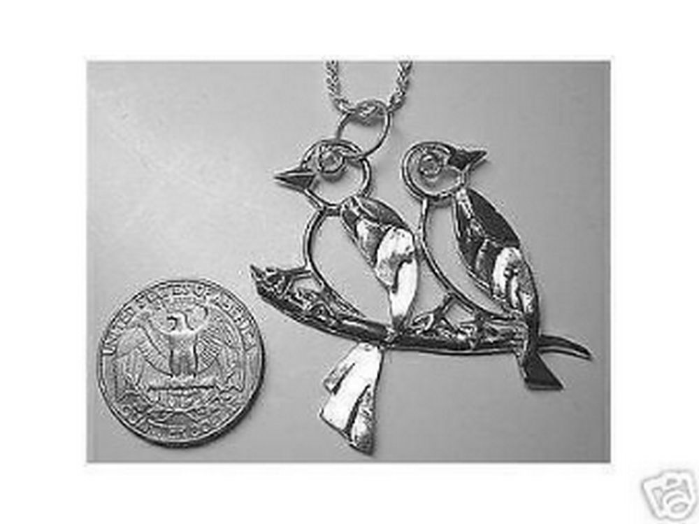 Love Birds Pendant Charm Sterling Silver .925 Jewelry