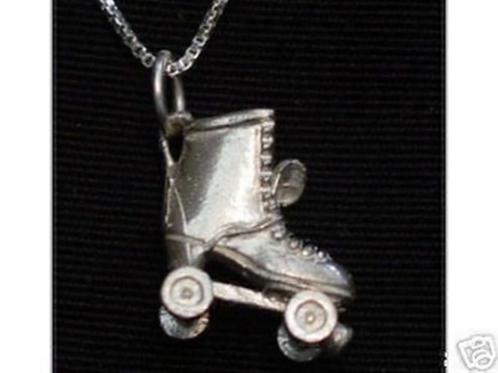 1100 Sterling Silver .925 3D Roller Skates skate Sports Charm Pendant Jewelry