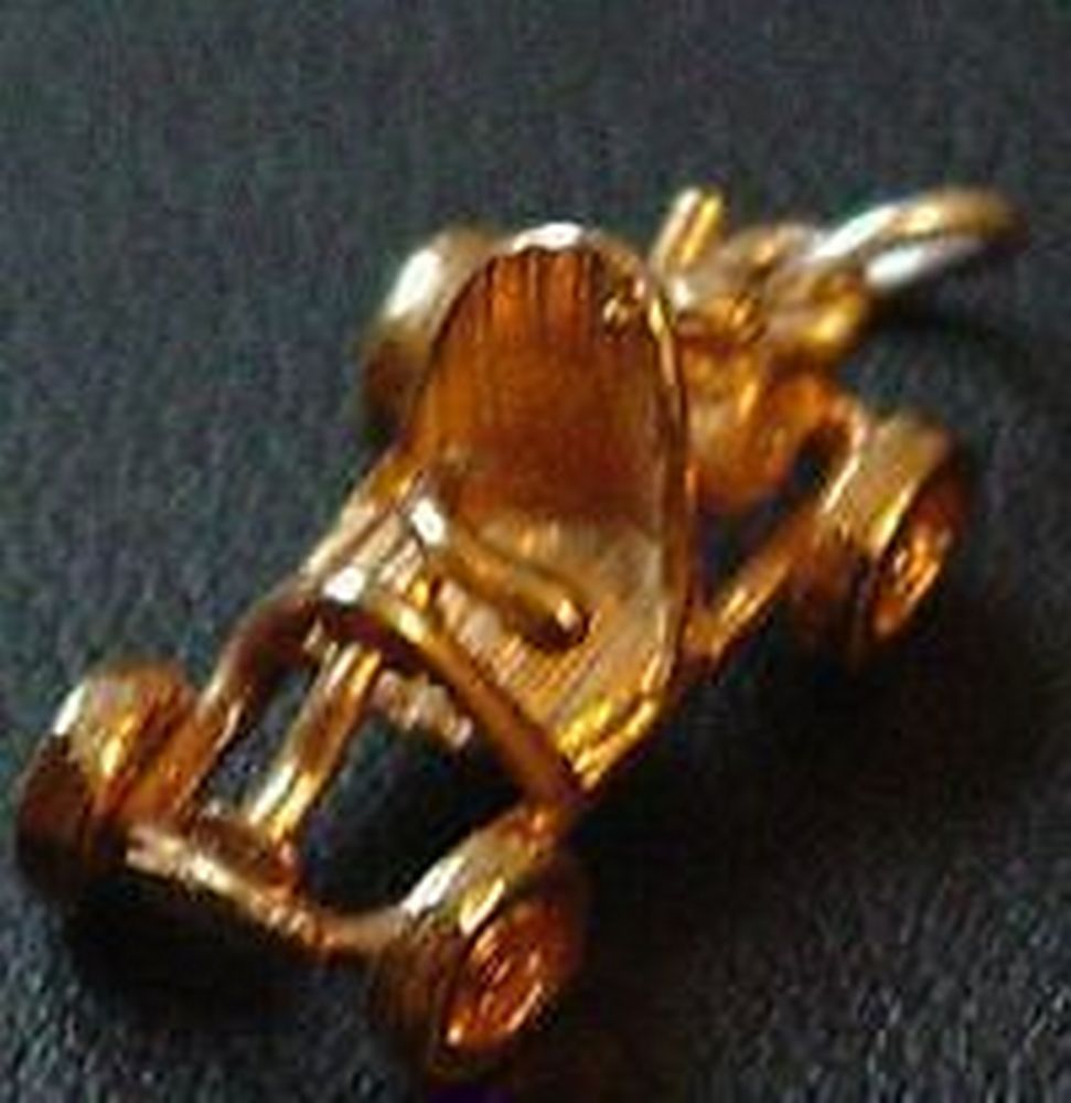 Antique Sports Car Pendant Old Charm Gold Plated