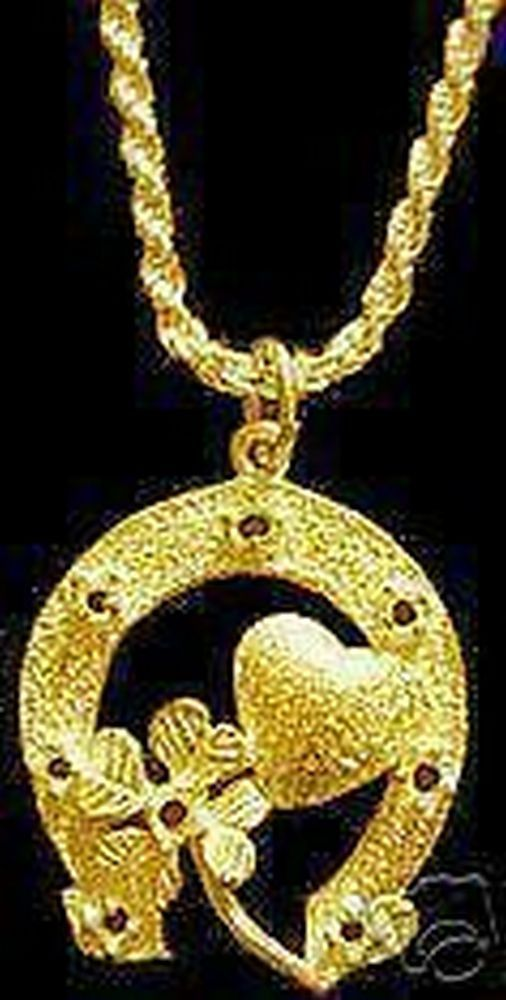 Gold Plated Good Luck Horse Shoe Clover Love Charm