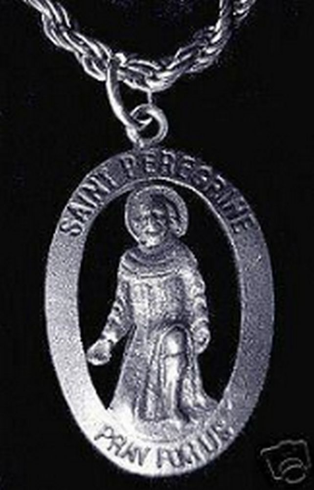 St. Saint Peregrine Help me Fight Cancer Silver charm