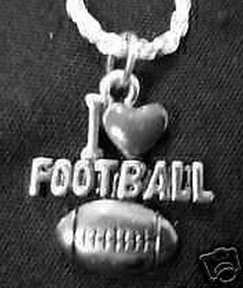 I love Football sports pendant sterling silver charm