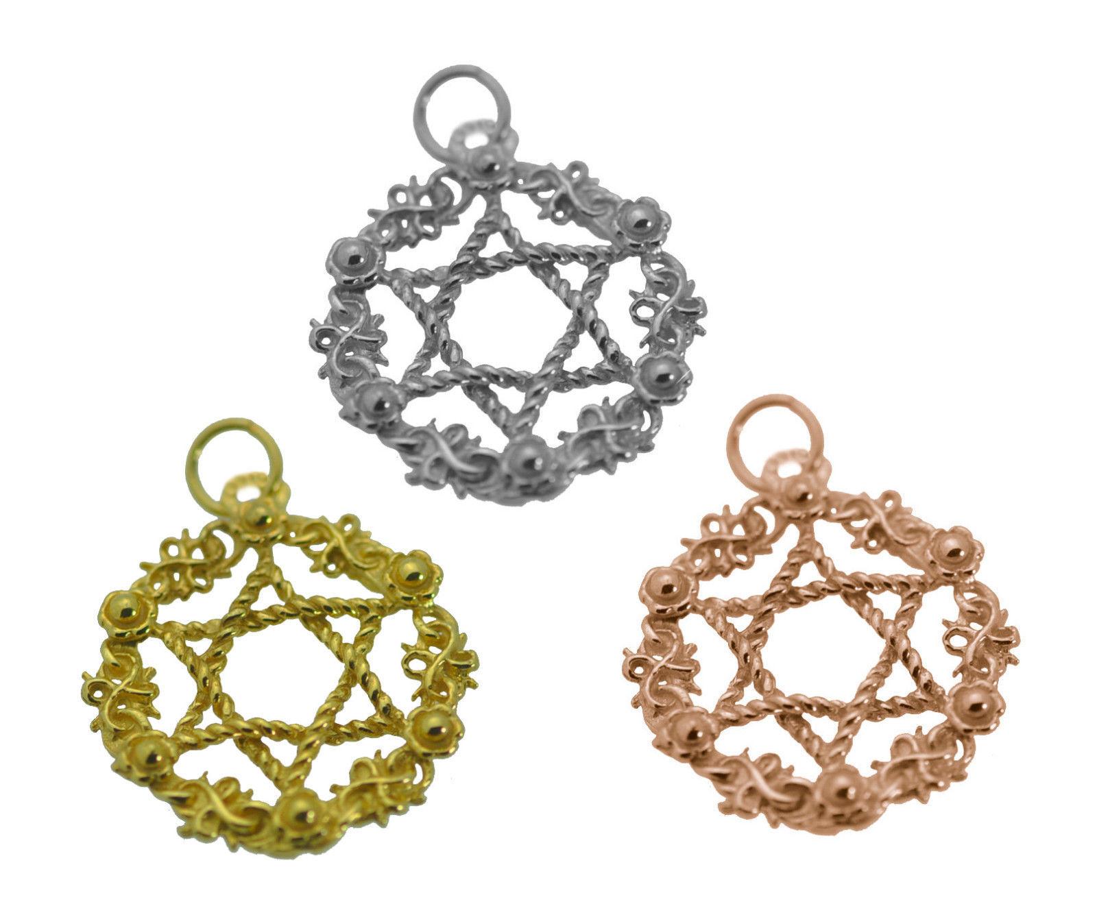 Star of David wreath hanukkah chanukah Rose / Gold Pltd / Sterling silver Charm
