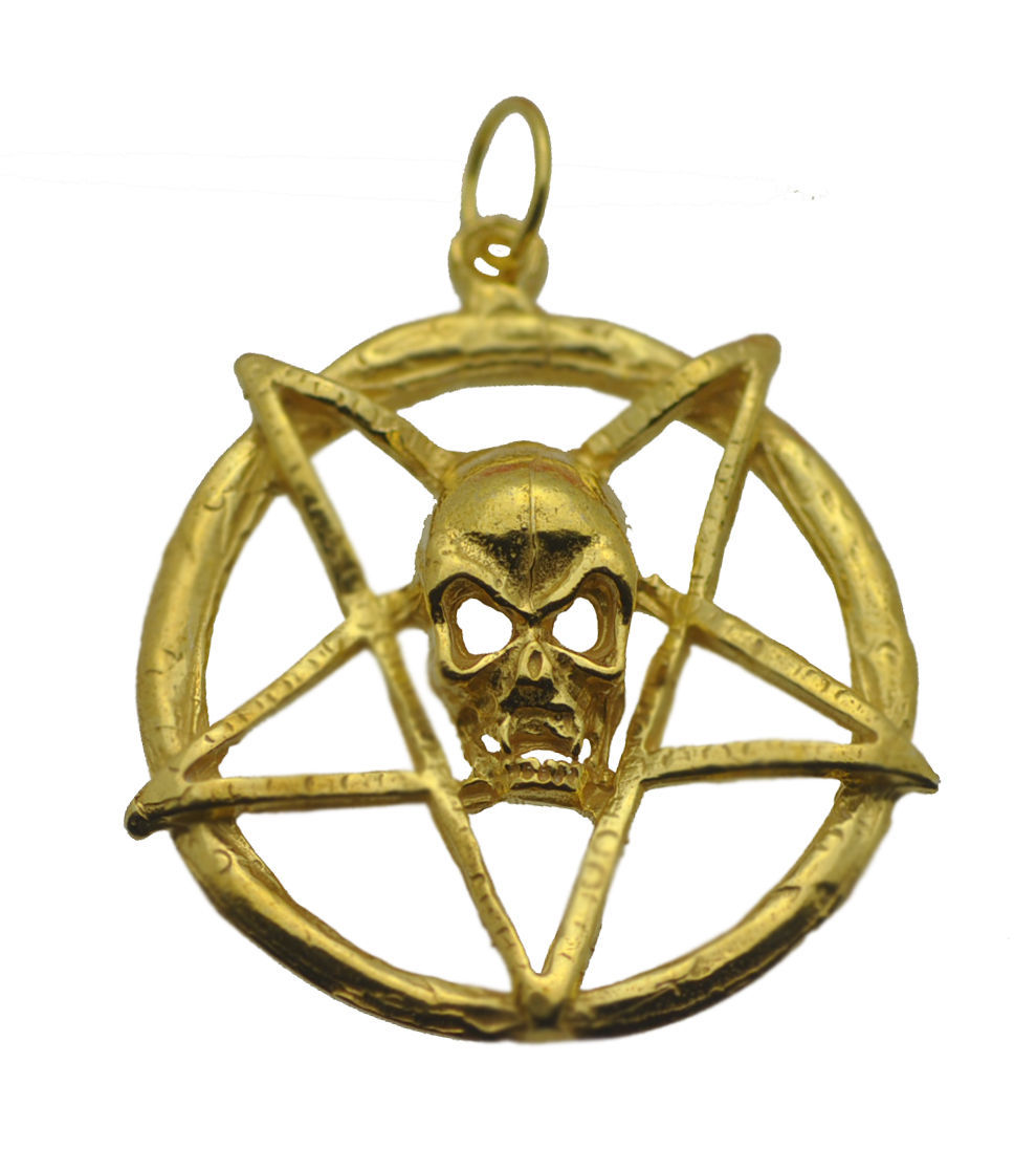 Gold Plated over real silver Chaos Gothic Skull Inverted Pentagram Charm