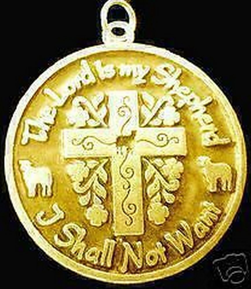 Jesus Gold Plated The Lord is my Shepherd charm Pendant