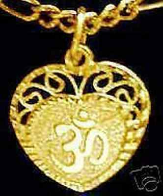 0488 Gold Plated HEART Charm Pendant Hindu OM Silver