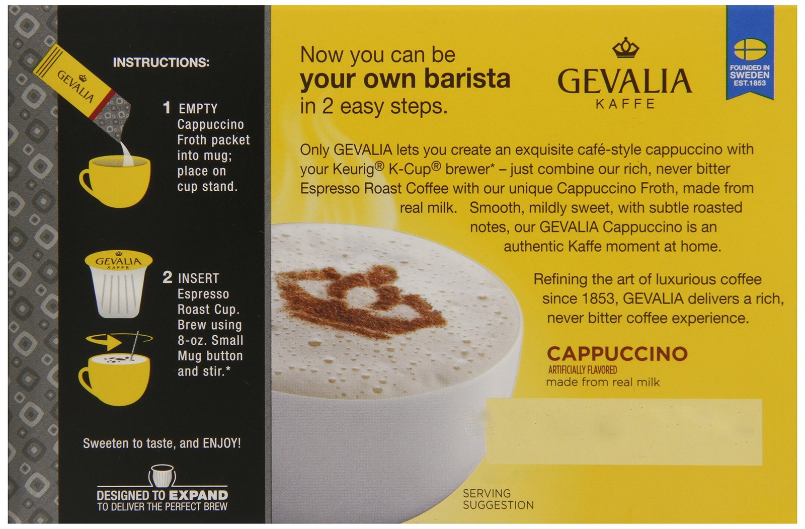 Gevalia Kaffe, 2-Step K-Cup & Froth Packets, 6 Count, 5.6oz Box (Pack of 3) (...