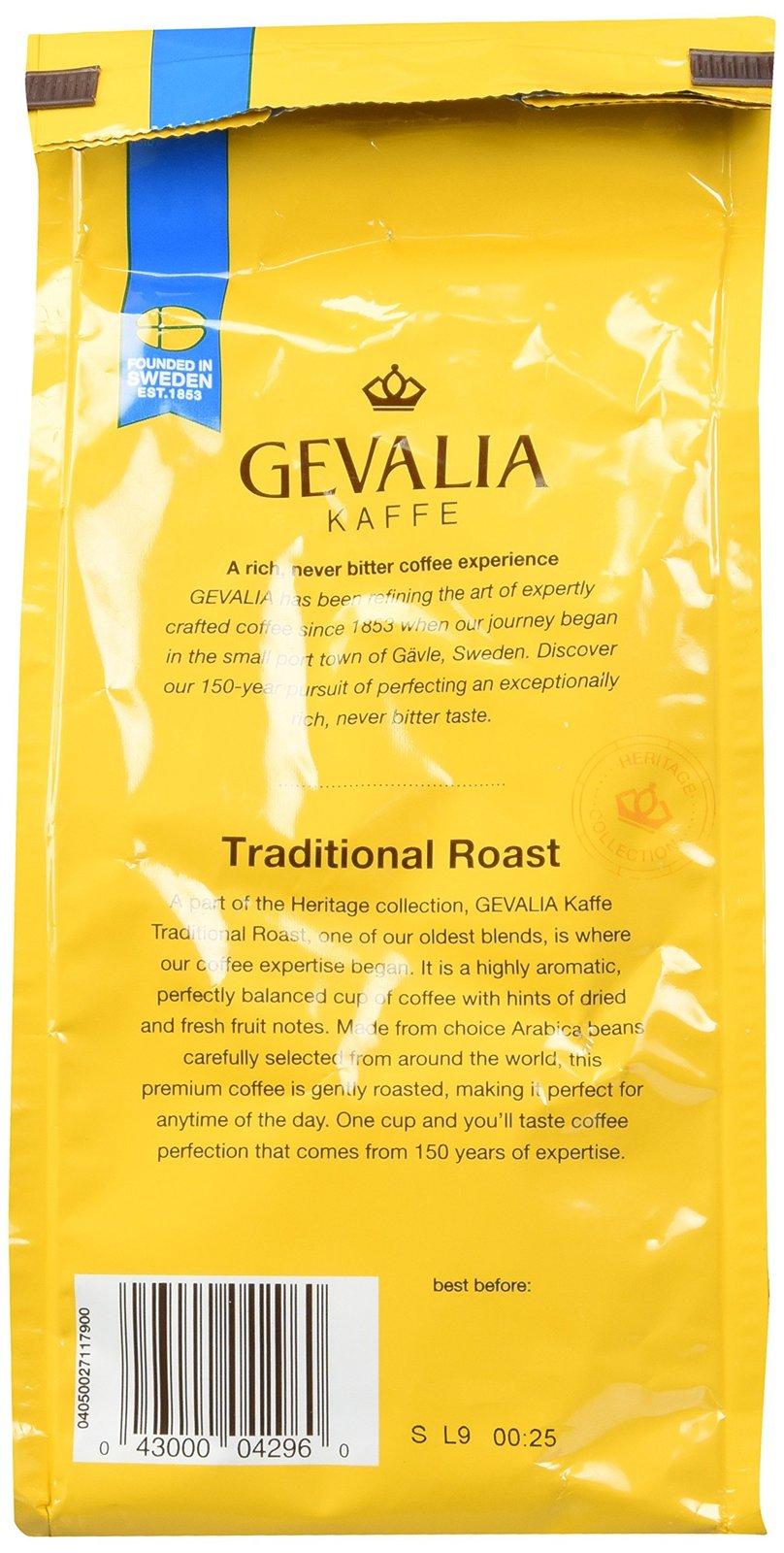 Gevalia, Kaffe, Traditional Roast, Ground Coffee, 12oz Bag (Pack of 2)