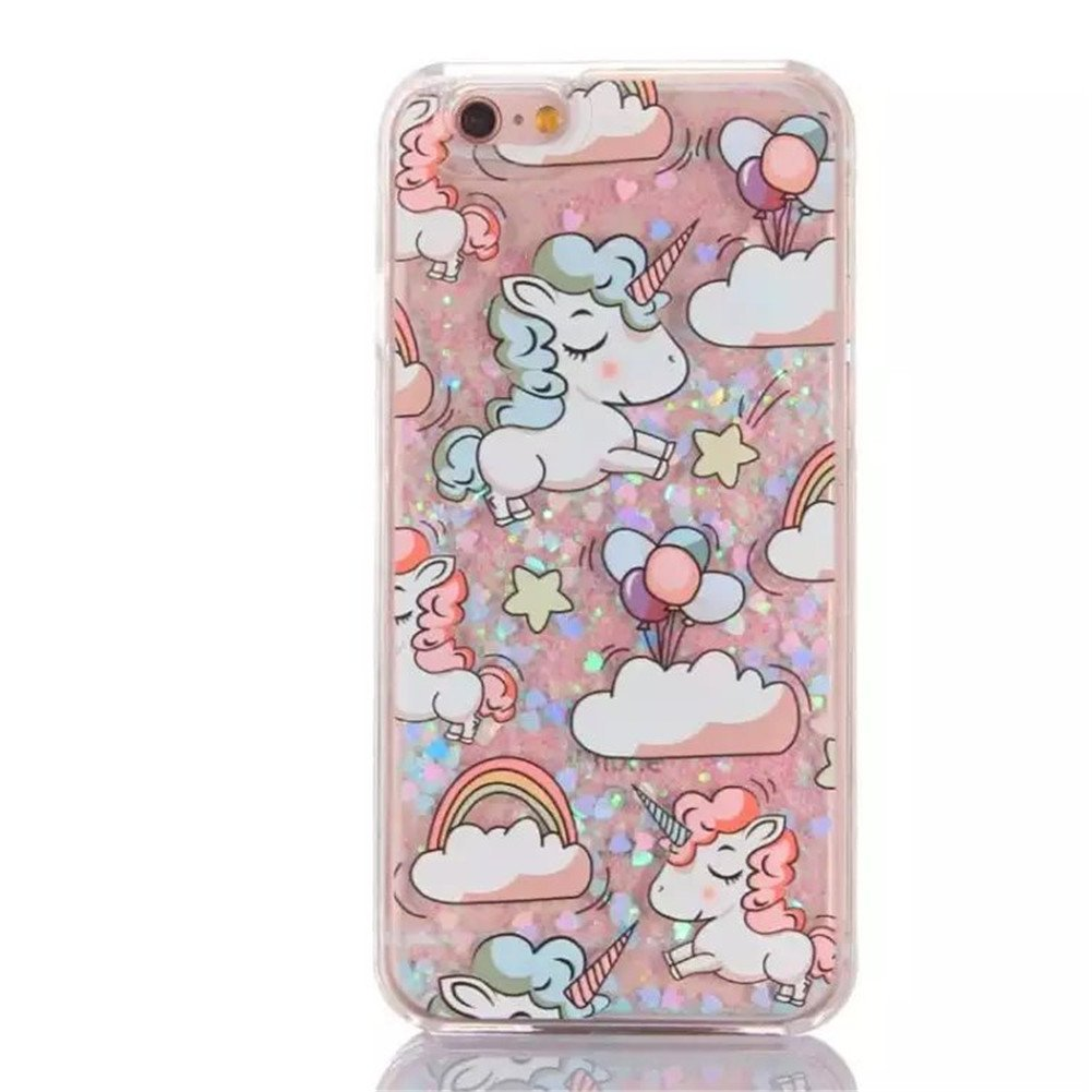 Liquid Case for Galaxy Note5,Cute Cartoon Unicorn Horse Print Floating Bling ...