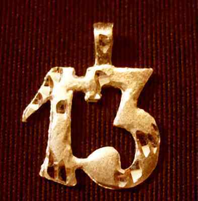 LUCKY Number 13 # thirteen Charm 24kt Gold plated Sterling Silver .925 Jewelry