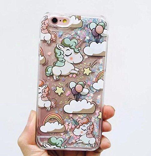Liquid Case for iphone 7,Cute Cartoon Unicorn Horse Print Floating Bling Spar...