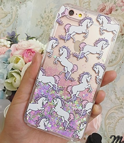 Liquid Case for iphone 5/5S,Cute Cartoon Unicorn Horse Print Floating Bling S...