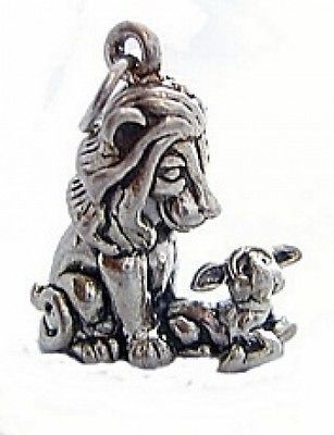 Aesop Fables 3D Lion and the Lamb Charm Silver Pendant