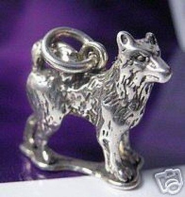 3D Solid Siberian Husky Puppy Dog Sterling silver .925 charm pendant jewelry