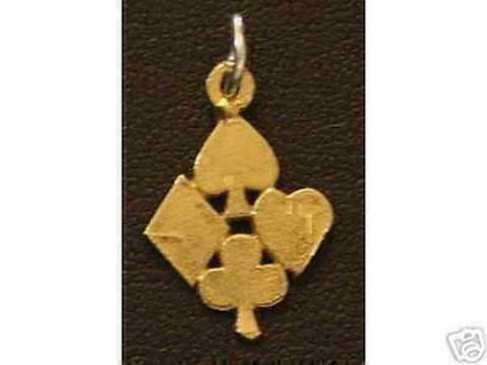 Poker suit Playing cards charm Gold plated lucky gamble