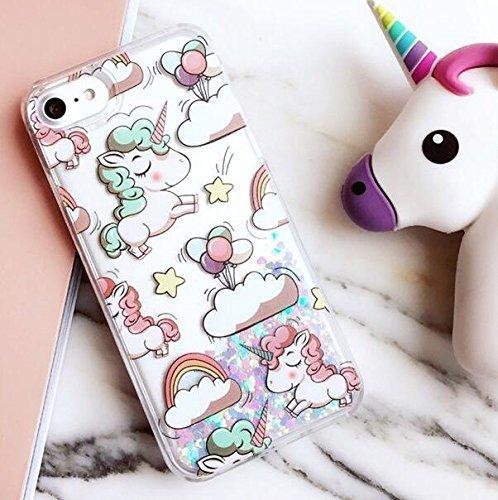 Liquid Case for iphone 7 Plus,Cute Cartoon Unicorn Horse Print Floating Bling...