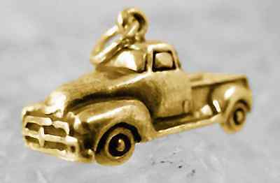 Gold pltd Farm construction Pickup Truck Sterling Silver Pendant Charm Jewelry