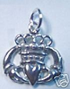 CLADDAGH Sterling Silver 925 charm Jewelry Irish Promise Love Loyalty Friends