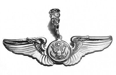 U.S. Army Air Crew MILITARY WING STERLING SILVER World War 2 II charm Pendant