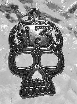 Skeleton Skull Number Lucky 13 Thirteen Sterling silver Pendant charm Jewelry