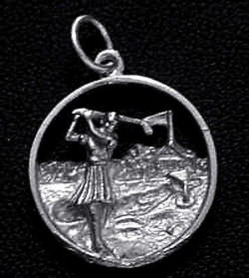 Golfing Sterling Silver Golf Sports Pendant Charm Ball