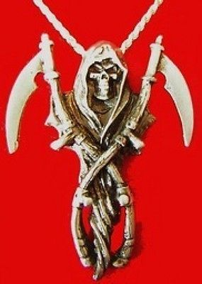 Heavy Huge Grim Reaper Sterling Silver Skeleton charm
