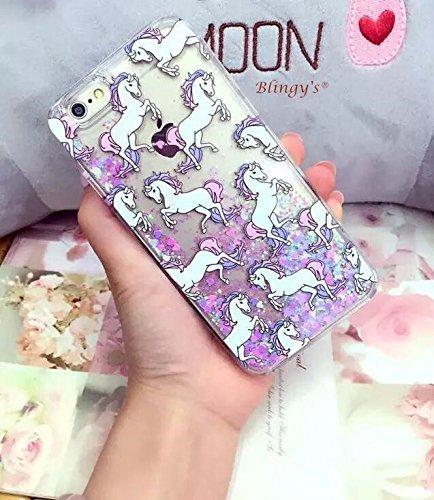 Liquid Case for iphone 6 Plus,Cute Cartoon Unicorn Horse Print Floating Bling...