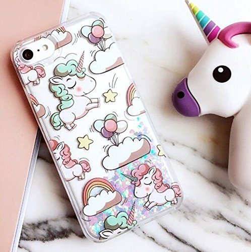 Liquid Case for iphone 6 Plus,Cute Cartoon Unicorn Horse Print Floating Bling...