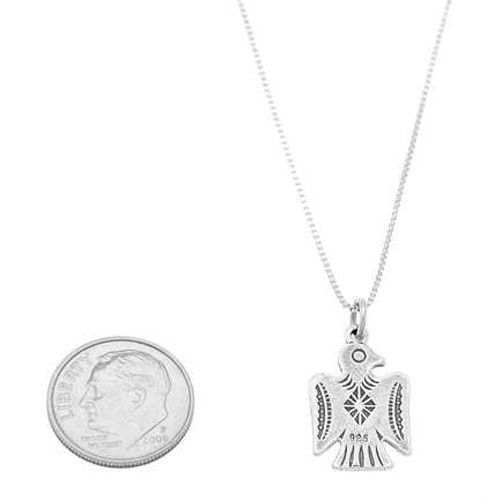 STERLING SILVER SOUTHWEST MOTIF THUNDERBIRD CHARM WITH BOX CHAIN NECKLACE
