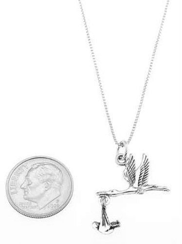 STERLING SILVER STORK DELIVERING BABY CHARM WITH BOX CHAIN NECKLACE