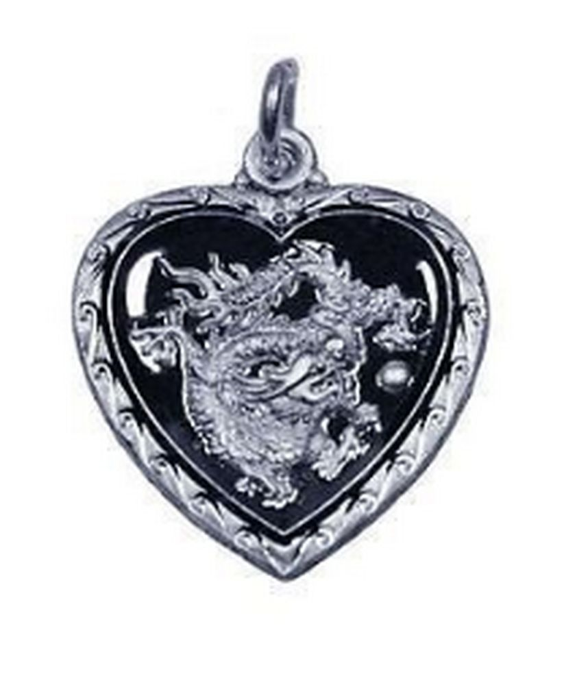 Chinese Dragon Zodiac Pendant ARIES Hearts Silver .925