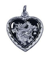 Chinese Dragon Zodiac Pendant ARIES Hearts Silver .925 - $18.26