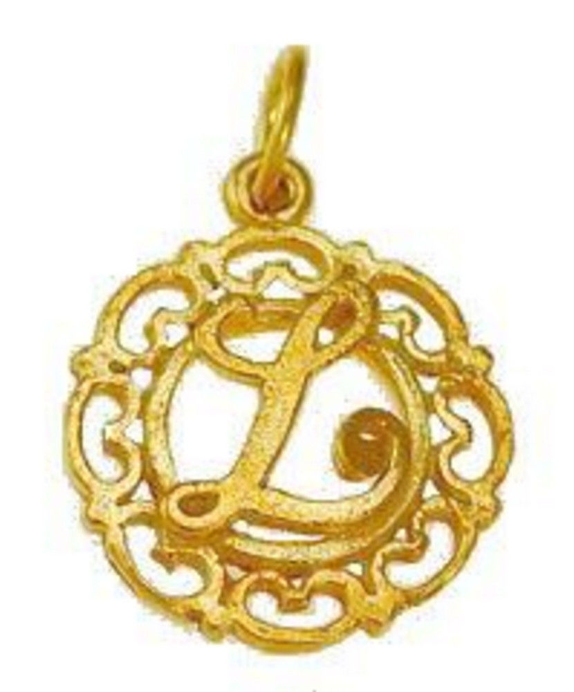Gold plated Sterling silver .925 filigree Charm Initial Letter L Celtic Jewelry