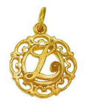 Gold plated Sterling silver .925 filigree Charm Initial Letter L Celtic ... - $17.26