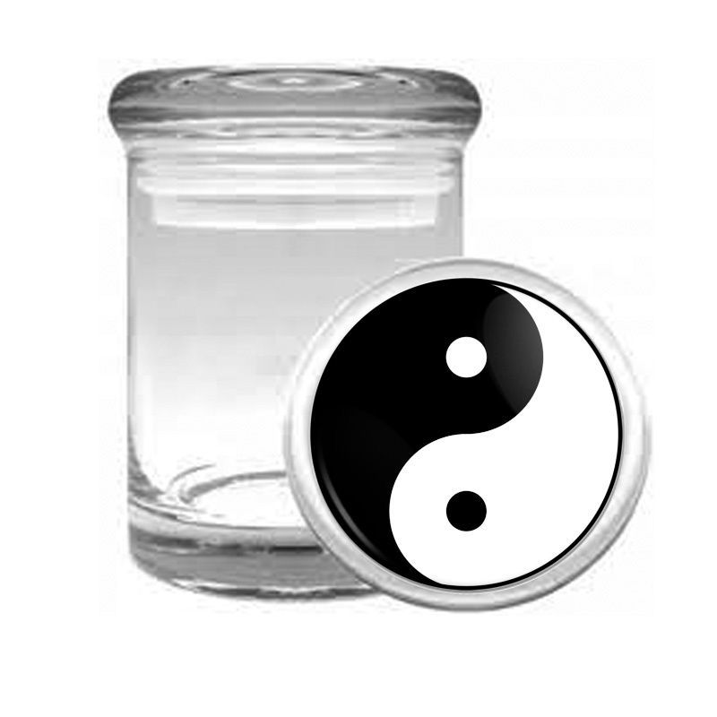 YIN & YANG D1 ODORLESS AIR TIGHT MEDICAL GLASS JAR CONTAINER TAOISM