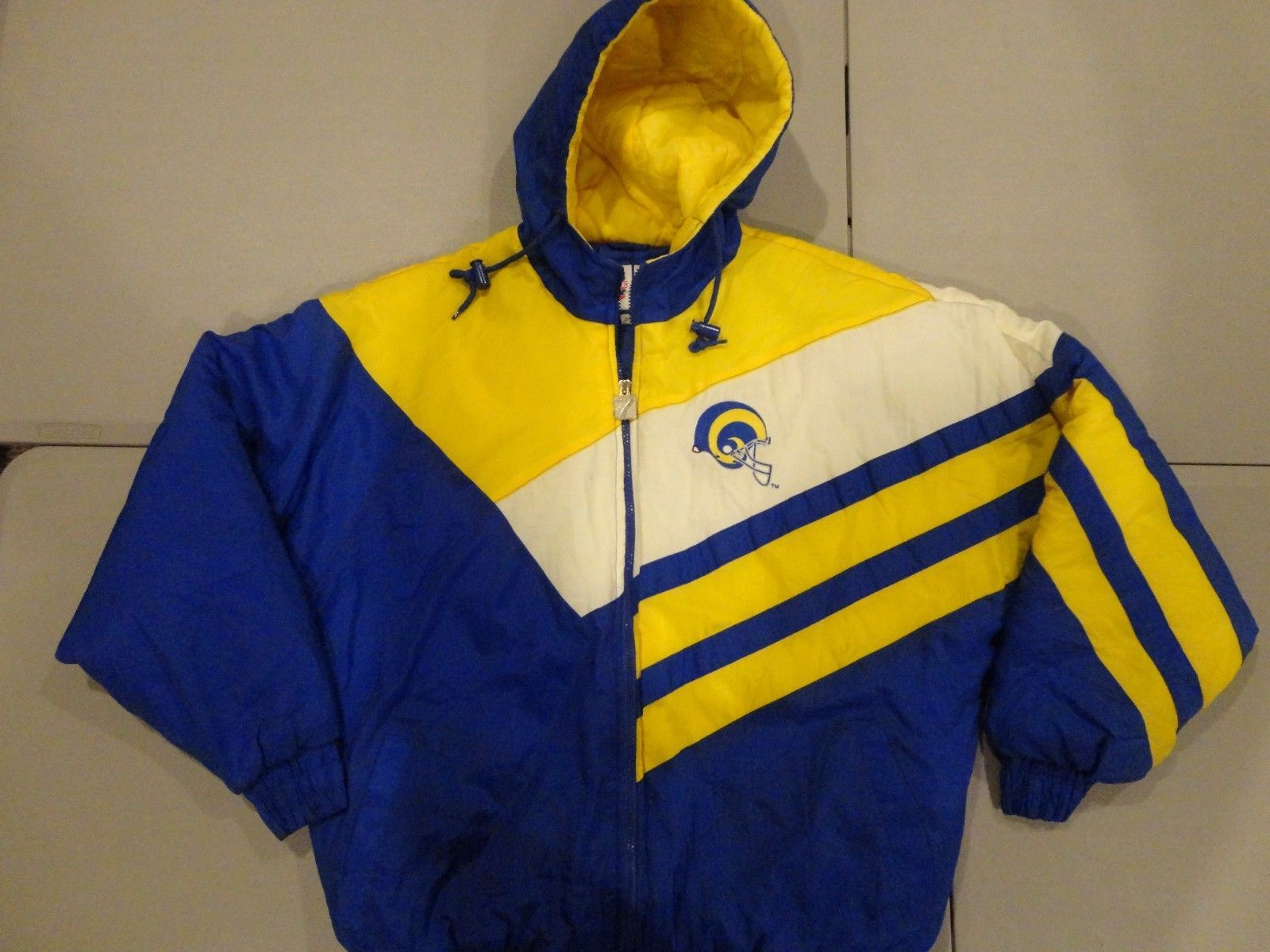 Blue & Yellow Vintage St. Louis Rams Logo 7 NFL Sewn GAME DAY Hooded Parka Men M