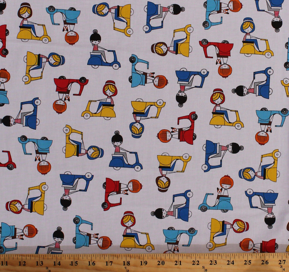Cotton Girls Dogs Motor Scooters Vespas Vehicle Travel France Fabric BTY D577.18