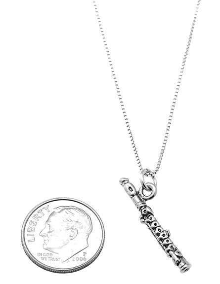 STERLING SILVER WOODWIND INSTRUMENT / BAND FLUTE CHARM WITH BOX CHAIN NECKLACE