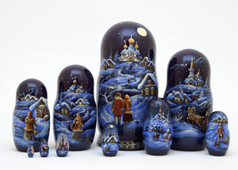 """Christmas Eve Scenic Nesting Doll - 10"""" w/ 10 Pieces - $270.00"""