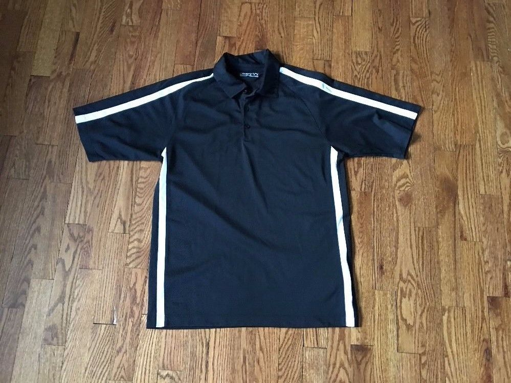 MENS Black And White NIKE GOLF DRI FIT POLYESTER S/S ATHLETIC POLO SHIRT M