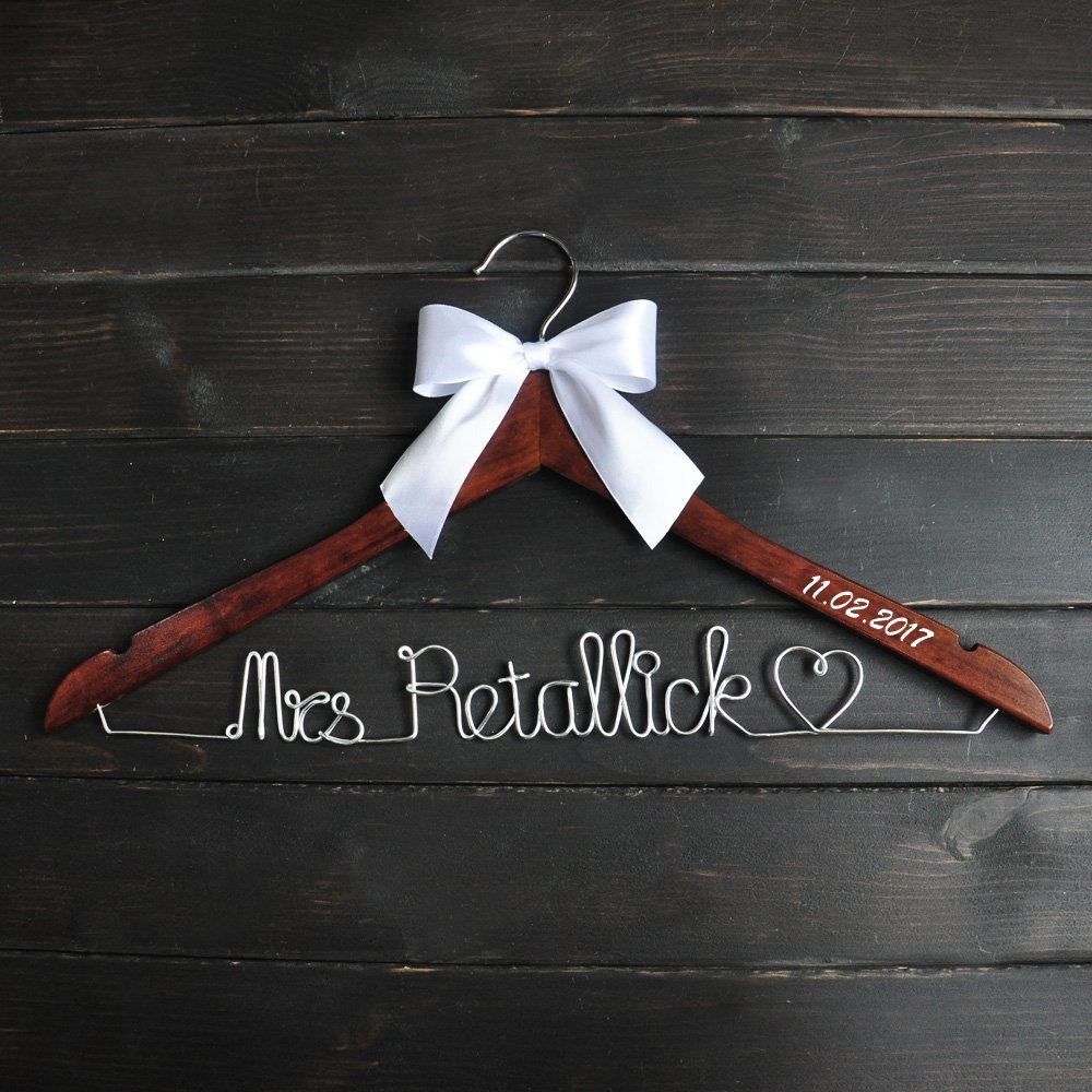 Custom Wedding Hanger with Date, Personalized Wedding Dress Hanger, Custom Br...