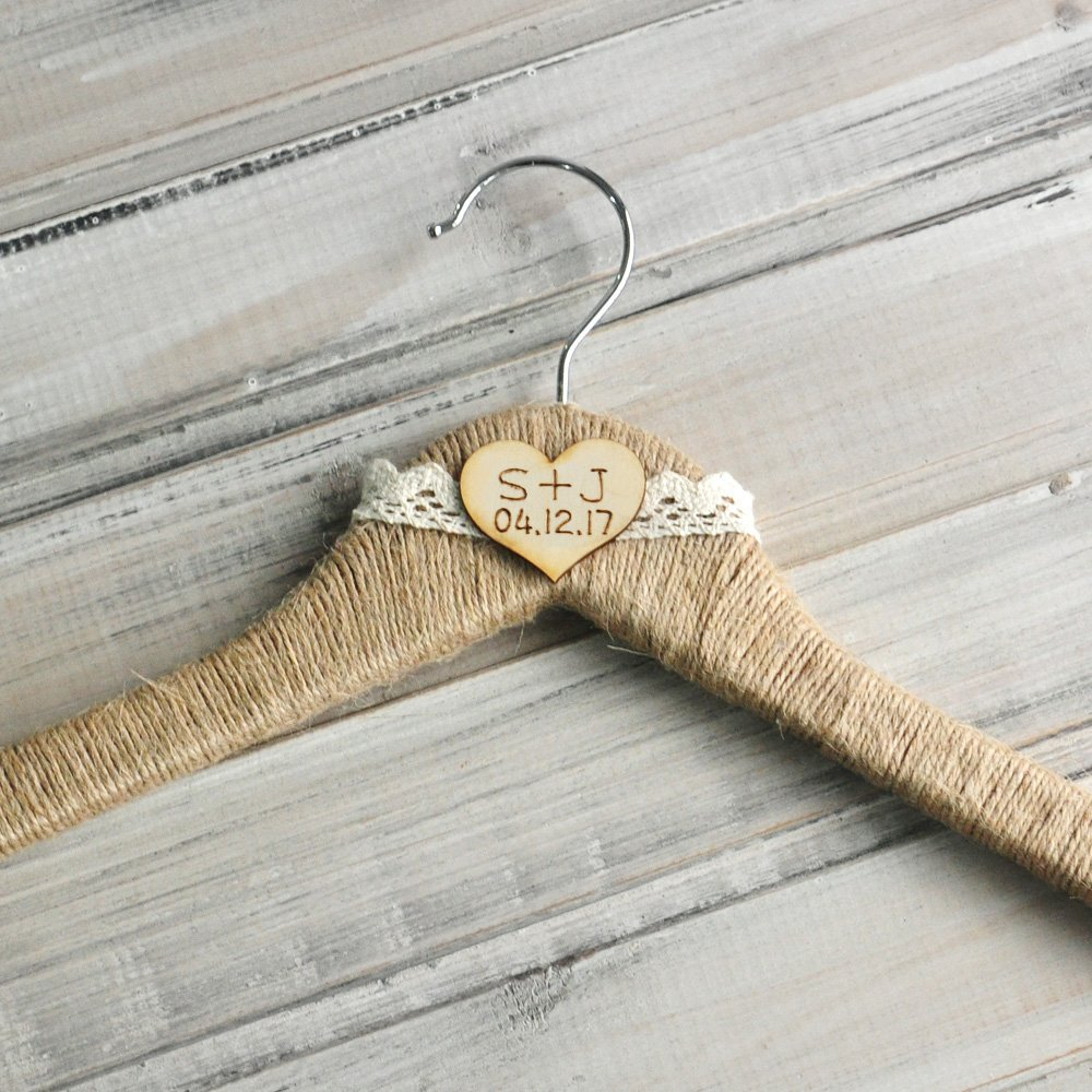 Rustic Wedding Hanger with Initials and Date, Custom Bridal Dress Hanger Pers...