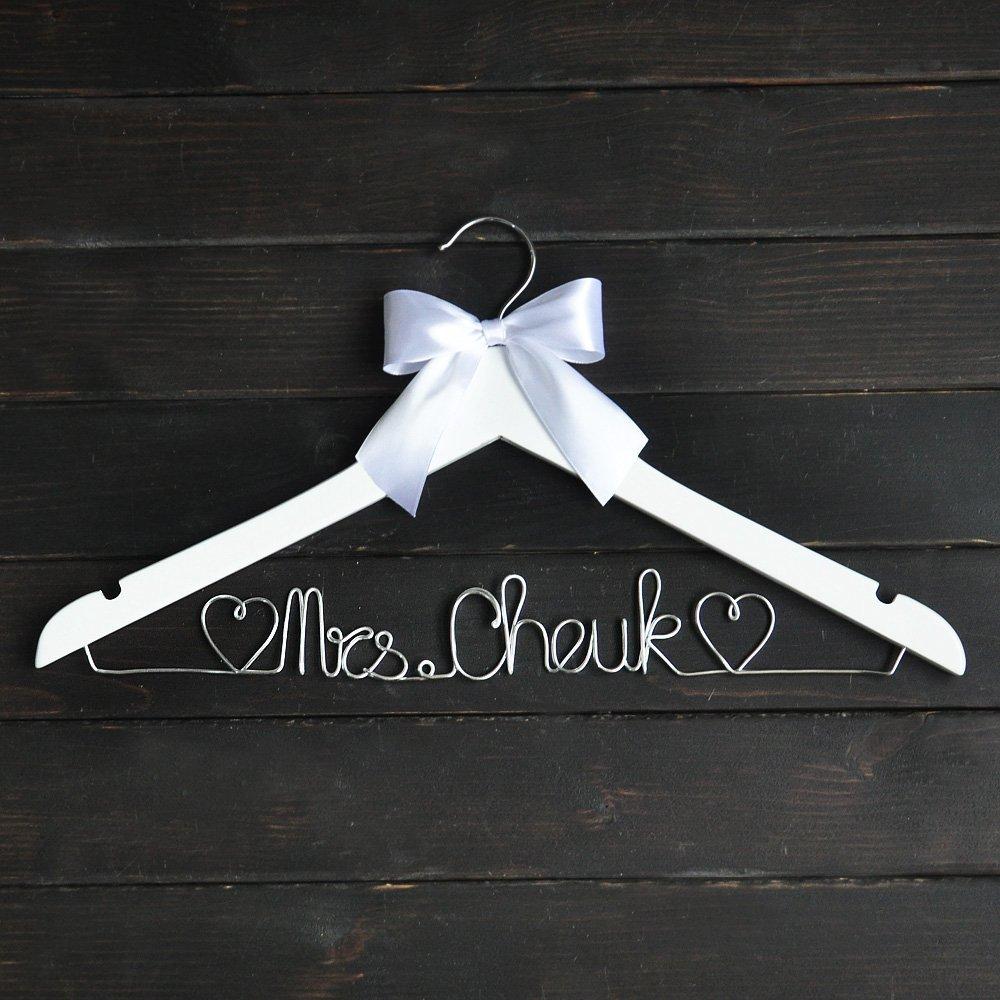 Custom Wedding Hanger with White Bow, Personalized Wedding Dress Hanger, Cust...