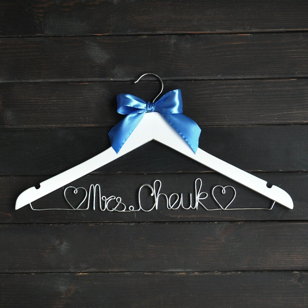 Rustic Wedding Hanger with Blue Bow, Personalized Wedding Dress Hanger, Custo...
