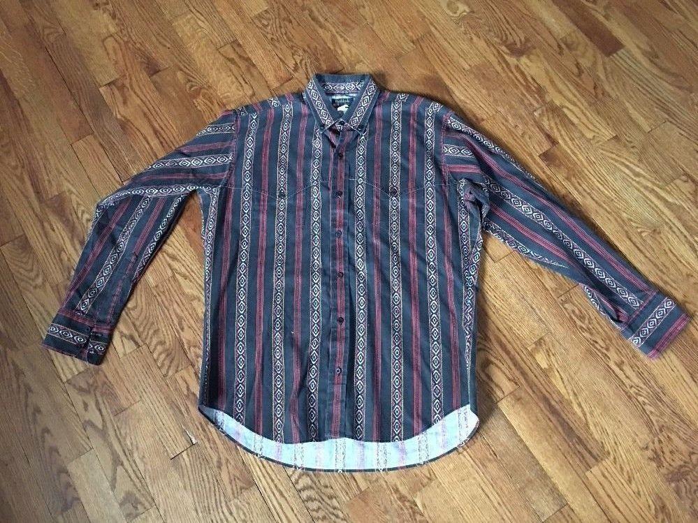 Mens Vintage Western Shirt Ruddock Bros. Size Large Extra Long Tails Black Red