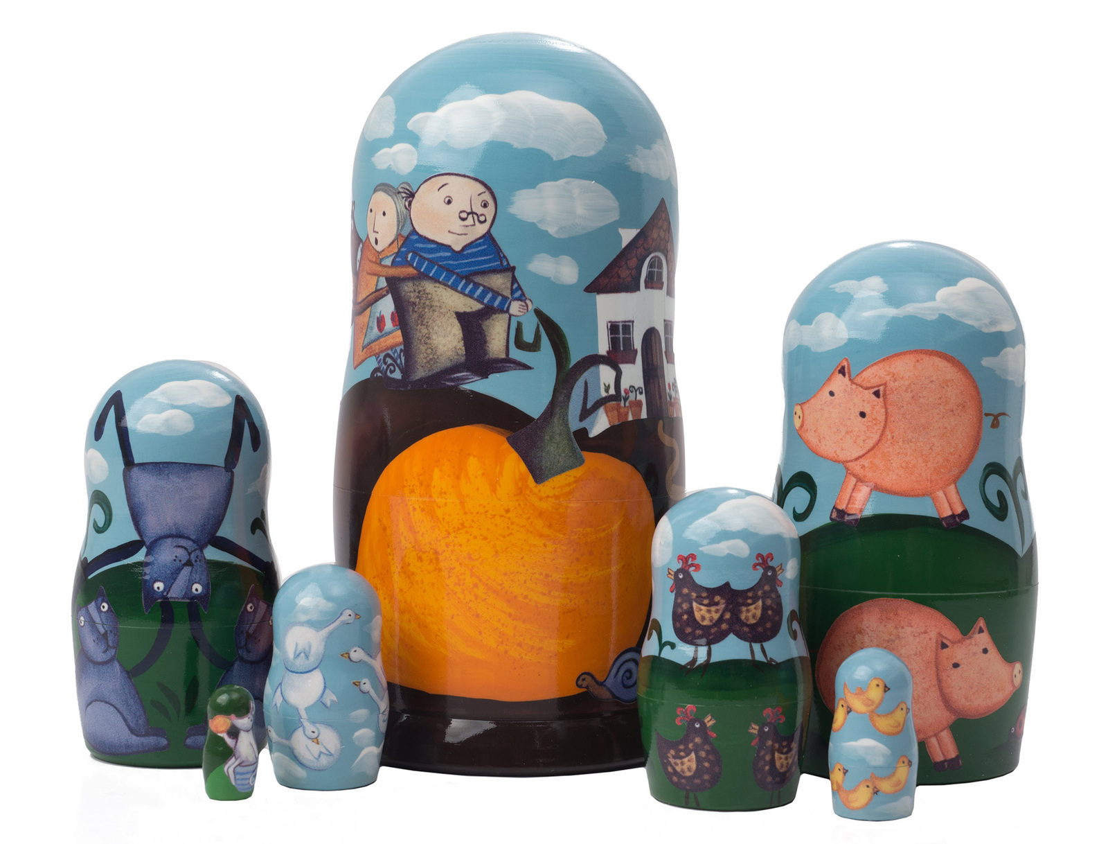 "The Gigantic Turnip Nesting Doll - 6"" w/ 7 Pieces"